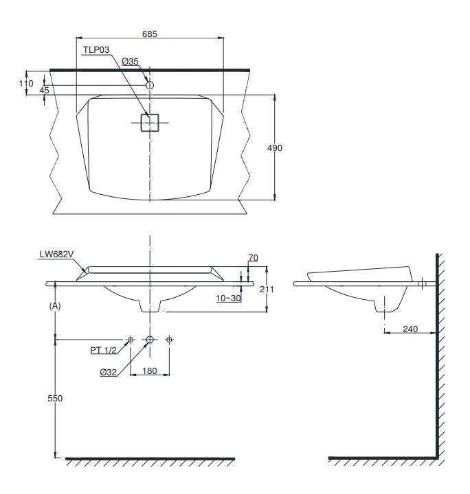 Bản vẽ kỹ thuật sản phẩm lavabo TOTO LT682