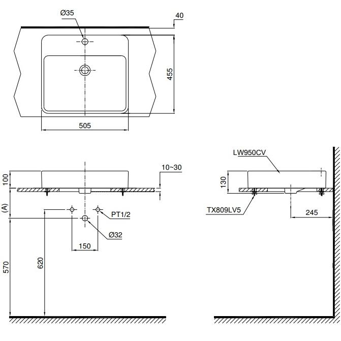 Bản vẽ kỹ thuật chậu rửa lavabo đặt bàn TOTO LT950C