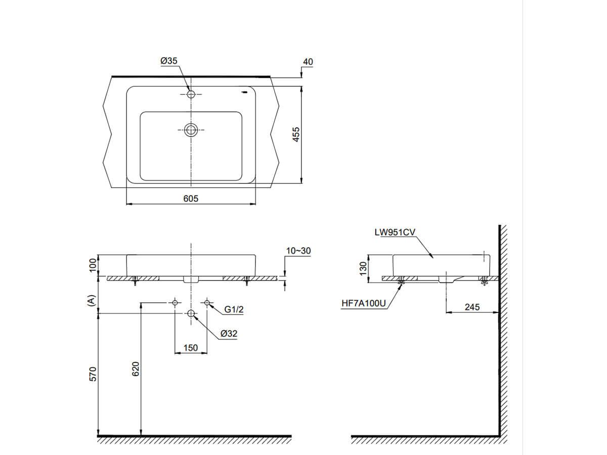 Bản vẽ kỹ thuật sản phẩm lavabo TOTO LT951C