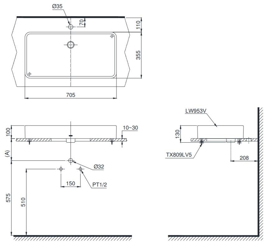 Bản vẽ kỹ thuật sản phẩm lavabo đặt bàn TOTO LT953