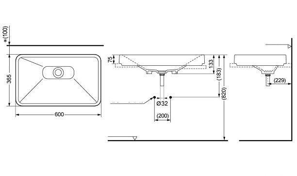 Bản vẽ kỹ thuật lavabo đặt bàn TOTO LW171YB