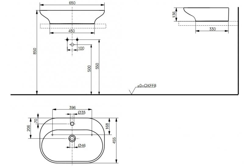 Bản vẽ kỹ thuật lavabo đặt bàn TOTO LW180Y