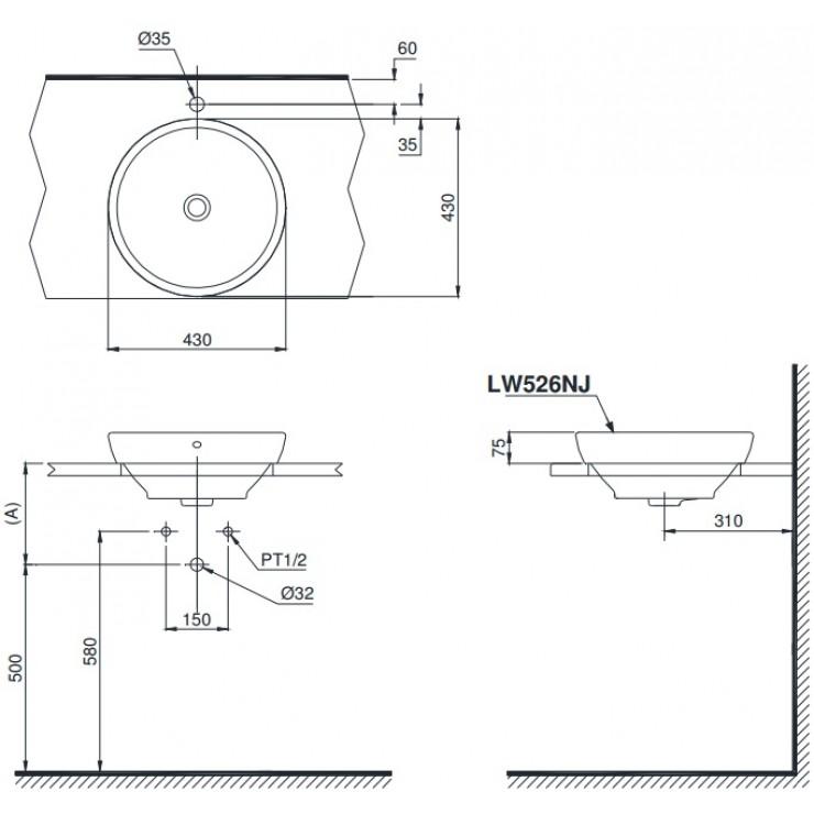 Bản vẽ kỹ thuật Chậu rửa lavabo đặt bàn TOTO LW526NJ