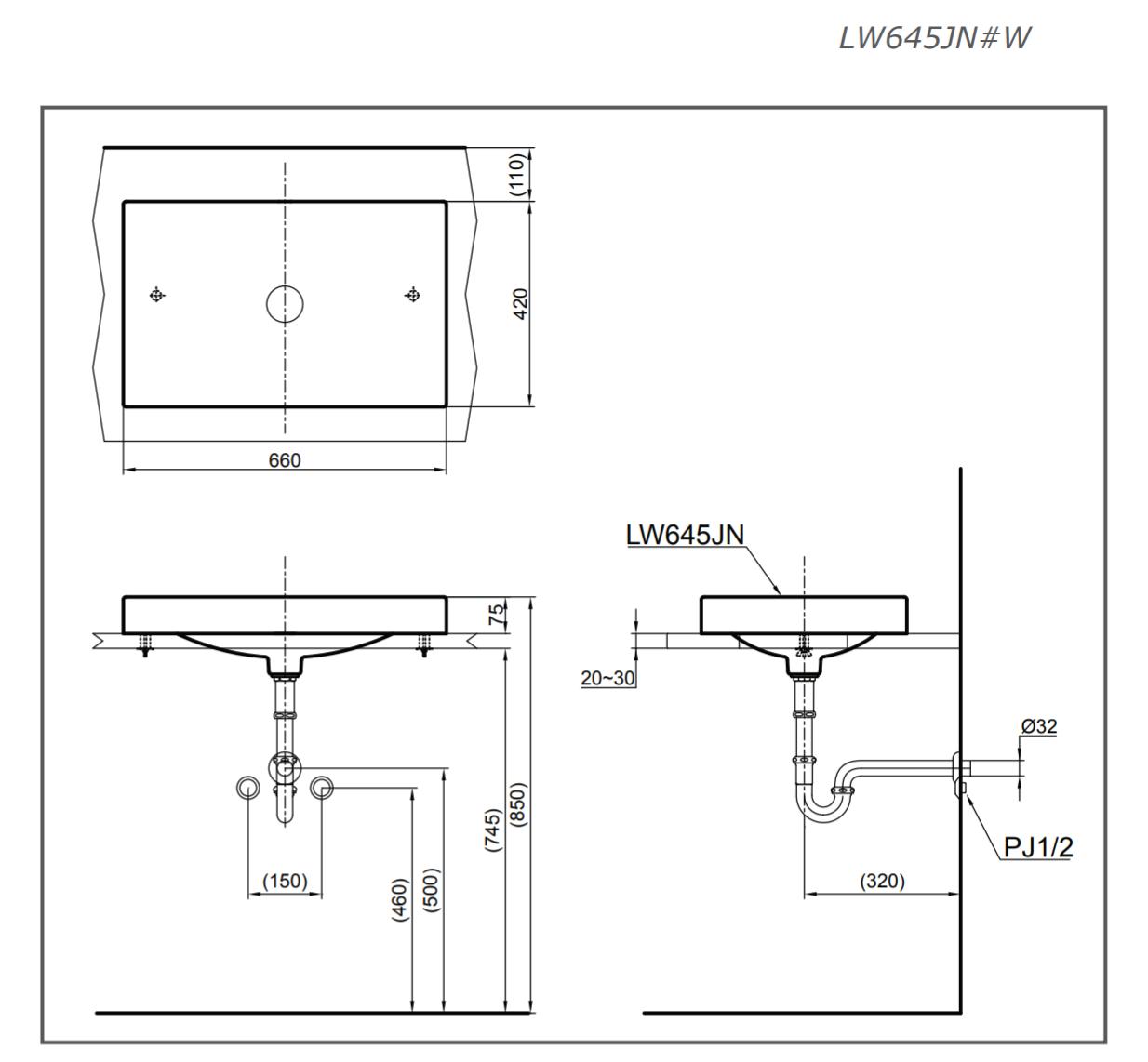 Bản vẽ kỹ thuật lavabo đặt bàn TOTO LW645JNW/F