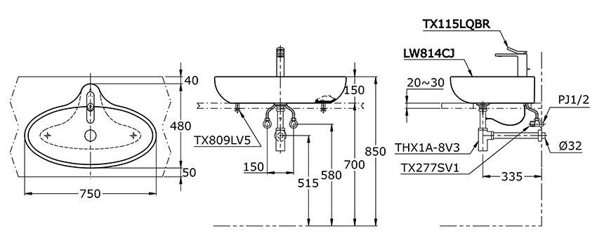 Bản vẽ kỹ thuật lavabo đặt bàn TOTO LW814CJW/F