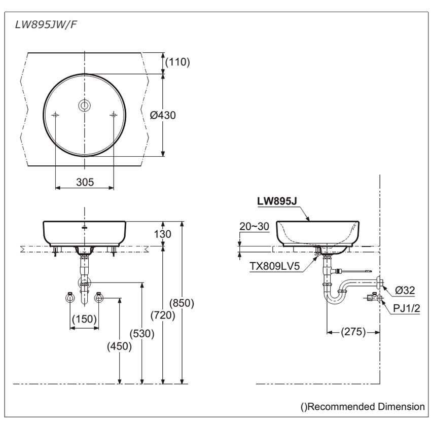 Bản vẽ kỹ thuật lavabo đặt bàn TOTO LW895JW/F