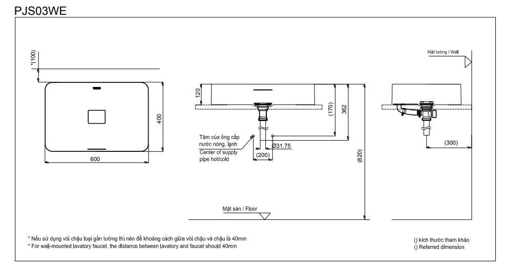 Bản vẽ kỹ thuật lavabo đặt bàn TOTO PJS03WE#MW