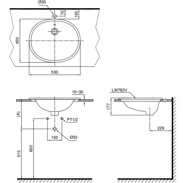 Bản vẽ kỹ thuật lavabo dương vành TOTO L762