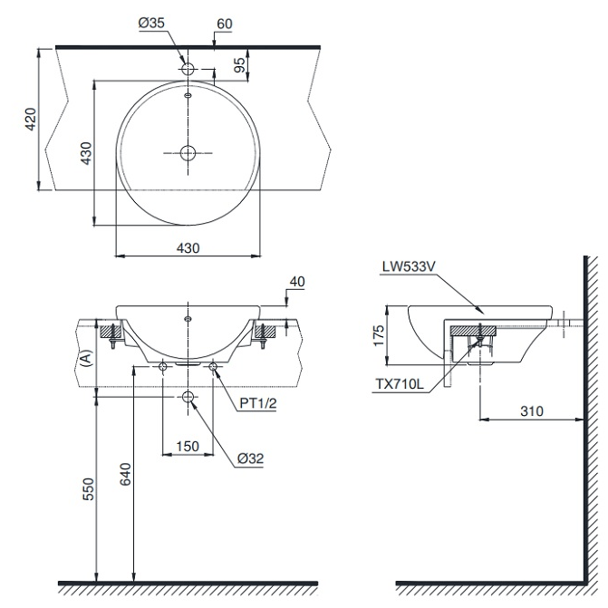 Bản vẽ kỹ thuật TOTO lavabo bán âm TOTO LT533