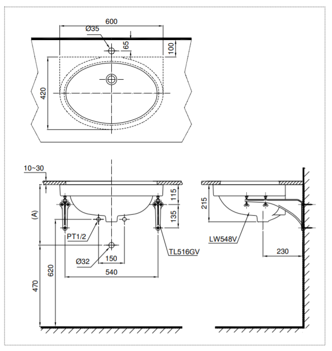 Bản vẽ kỹ thuật chậu rửa lavabo âm bàn TOTO LT548