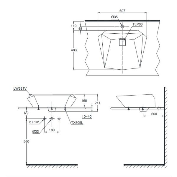 Bản vẽ kỹ thuật lavabo đặt bàn TOTO LT681