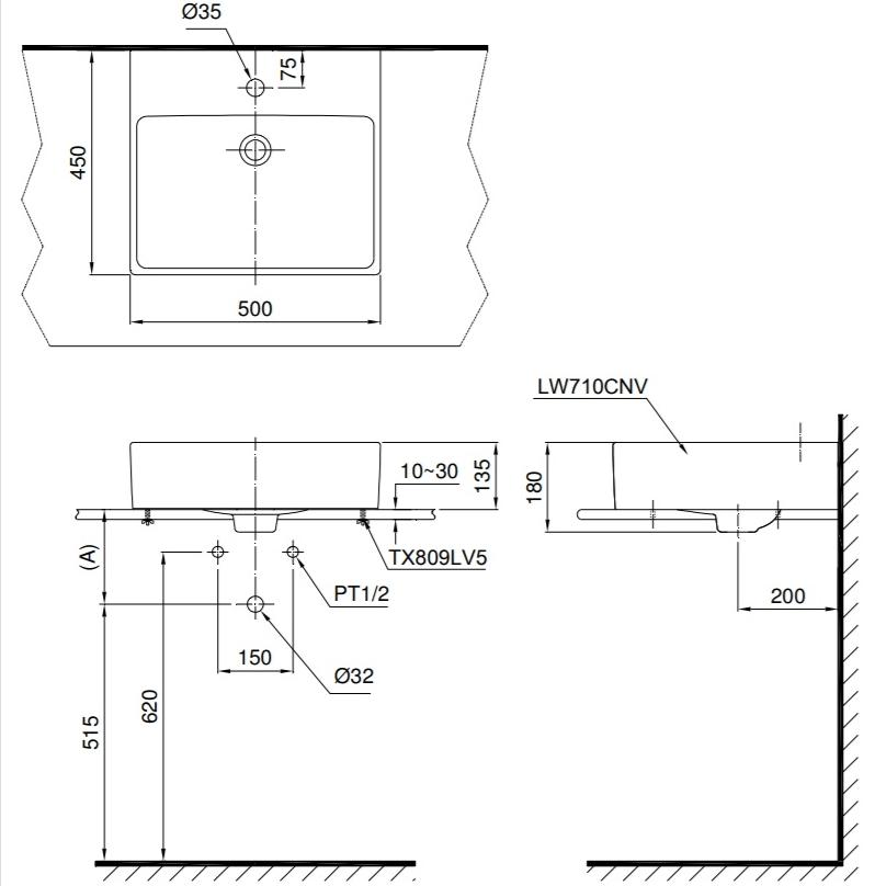 Bản vẽ kỹ thuật chậu rửa lavabo TOTO LT710CTM