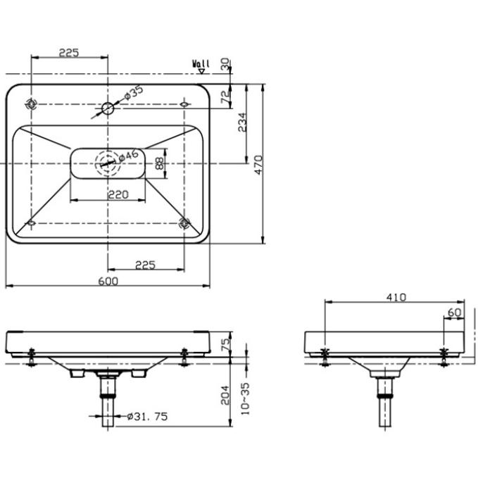 Bản vẽ kỹ thuật lavabo đặt bàn TOTO LW170YB