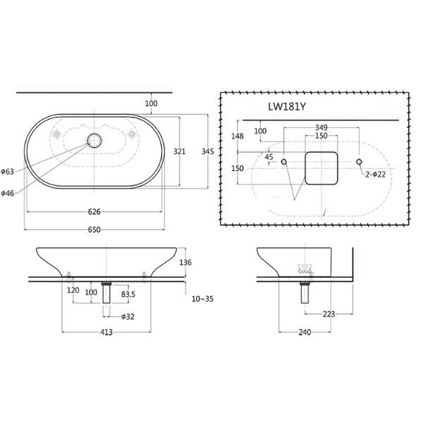 Bản vẽ kỹ thuật sản phẩm lavabo đặt bàn TOTO LW181Y