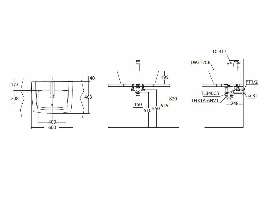 Bản vẽ kỹ thuật lavabo đặt bàn TOTO LW312CB#HN