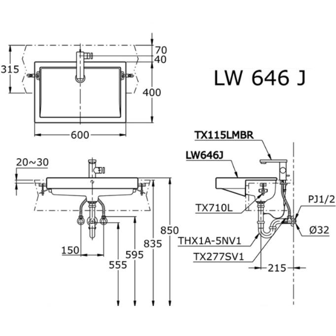 Bản vẽ kỹ thuật TOTO Chậu rửa lavabo bán âm TOTO LW646JW/F
