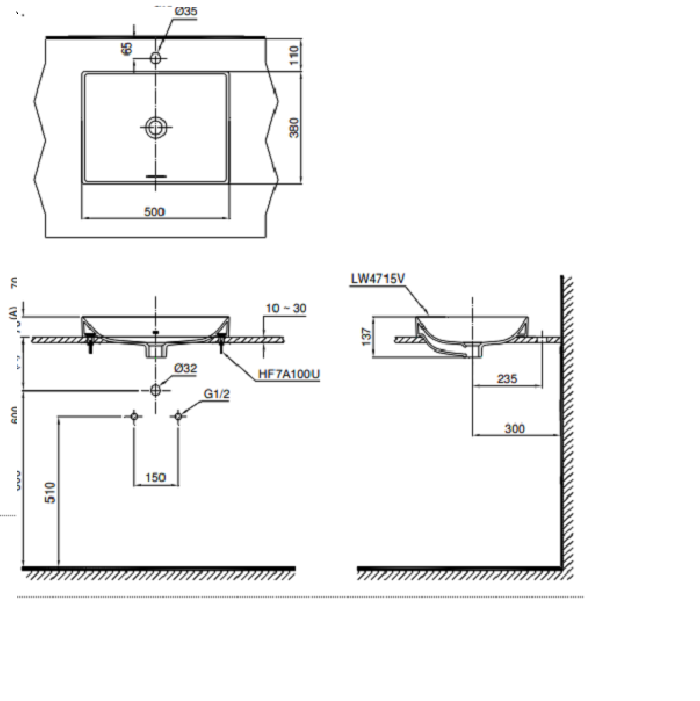 Bản vẽ kỹ thuật lavabo đặt bàn cao cấp TOTO LT4715
