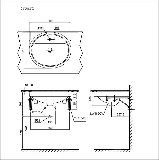 Bản vẽ kỹ thuật lavabo âm bàn TOTO LT582C