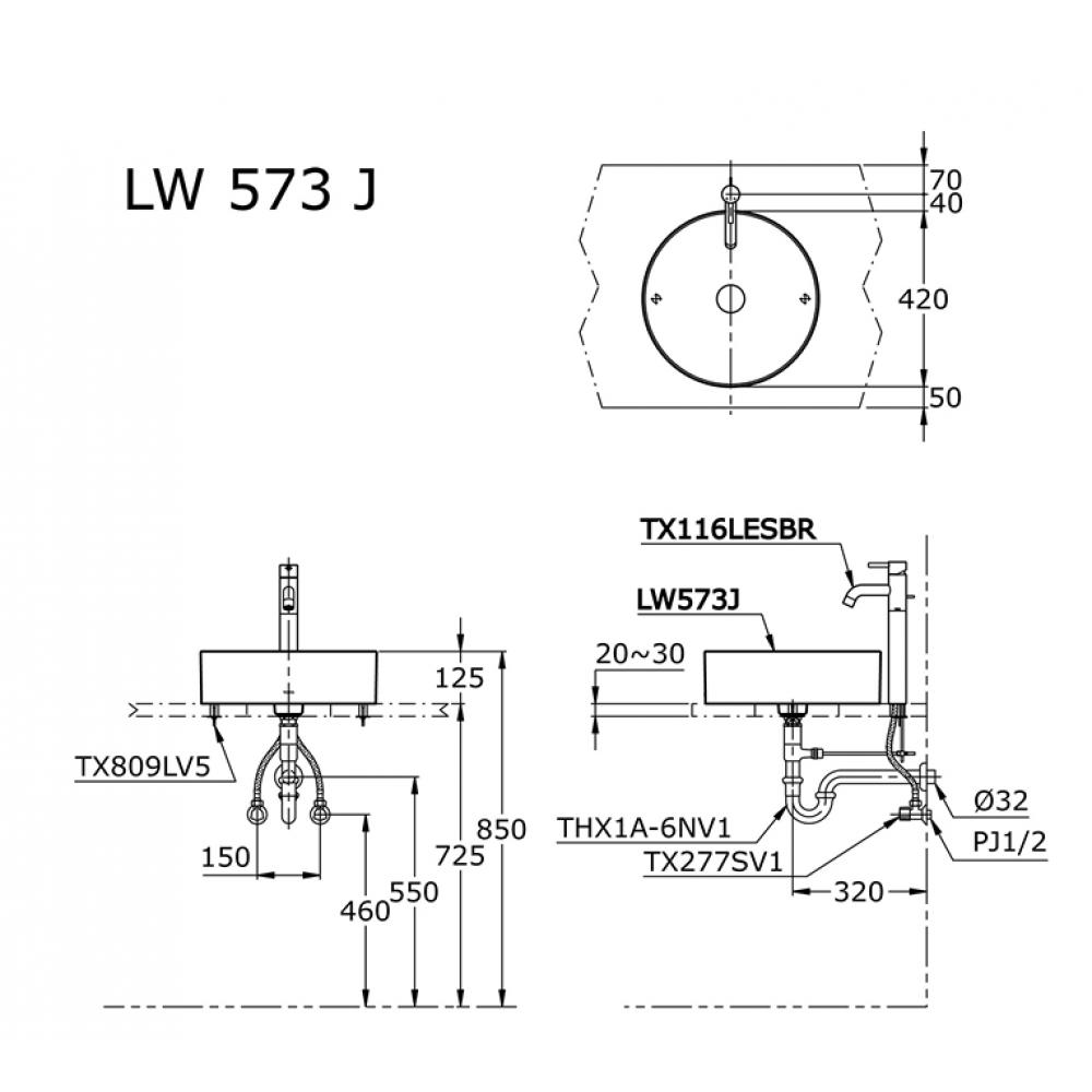Bản vẽ kỹ thuật lavabo đặt bàn TOTO LW573JW/F