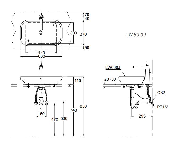 Bản vẽ kỹ thuật sản phẩm chậu rửa lavabo đặt bàn TOTO LW630JW/F