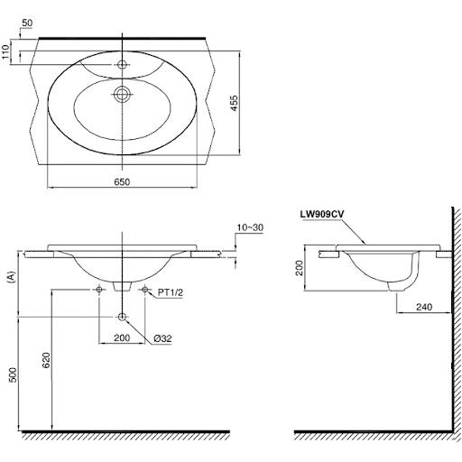 Bản vẽ kỹ thuật lavabo TOTO LW909CKS