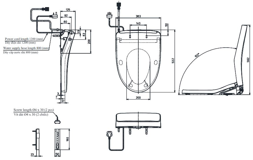 Bản vẽ kỹ thuật nắp rửa điện tử TOTO TCF4911EZ