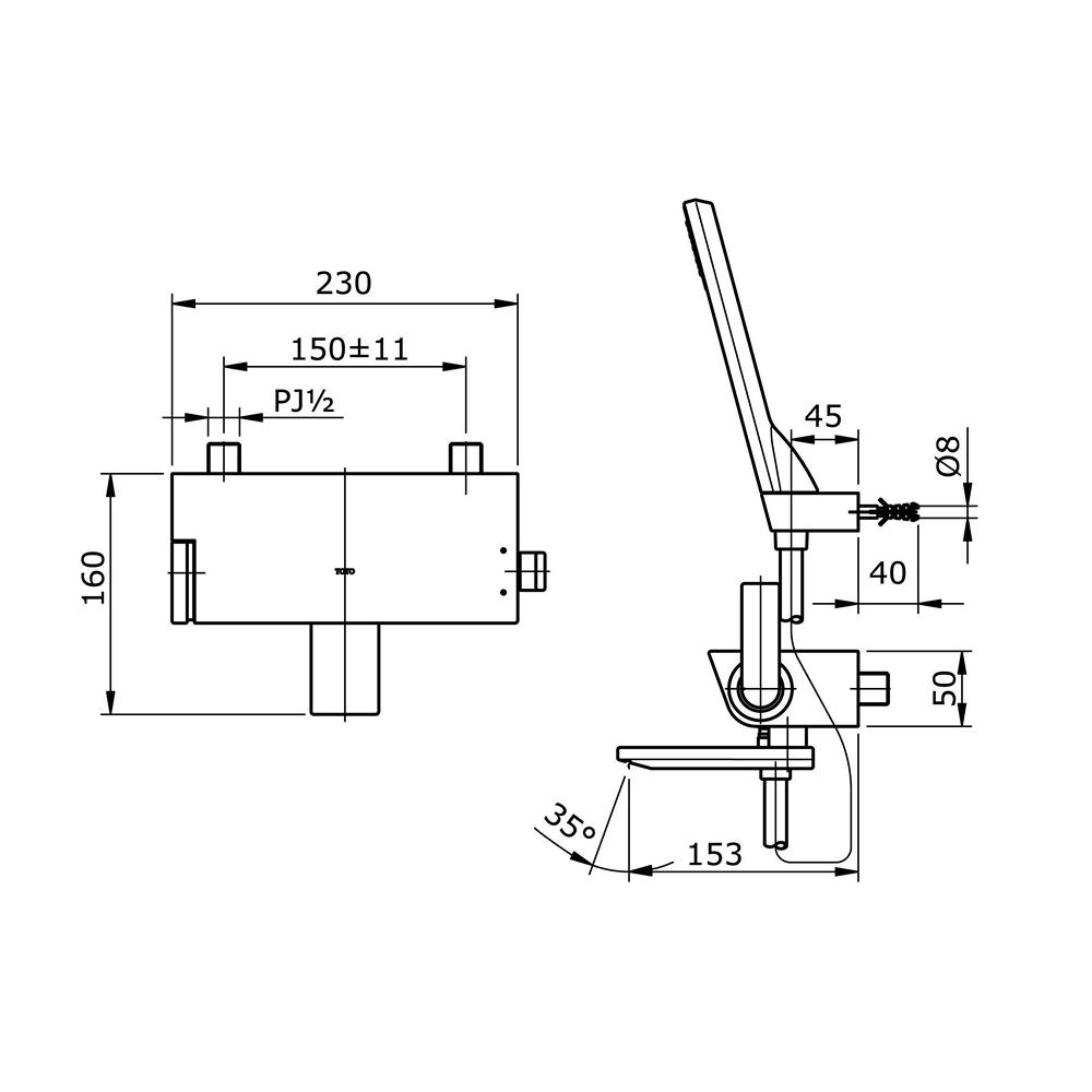 Bản vẽ kỹ thuật sen tắm TOTO TX471SNBR