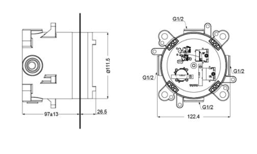 Bản vẽ kỹ thuật sản phẩm phụ kiện âm tường TOTO TBN01001B
