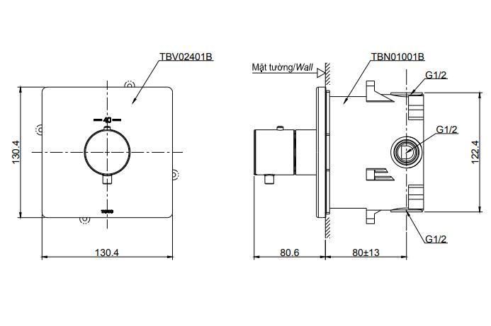 Bản vẽ kỹ thuật van điều chỉnh nhiệt độ TOTO TBV02401B/TBN01001B