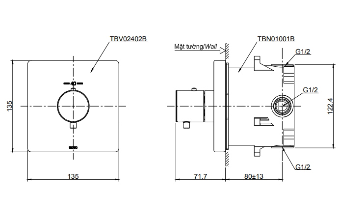 Bản vẽ kỹ thuật van điều chỉnh nhiệt độ TOTO TBV02402B/TBN01001B