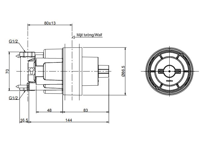 Bản vẽ kỹ thuật của phụ kiện âm tường TOTO TBN01102B