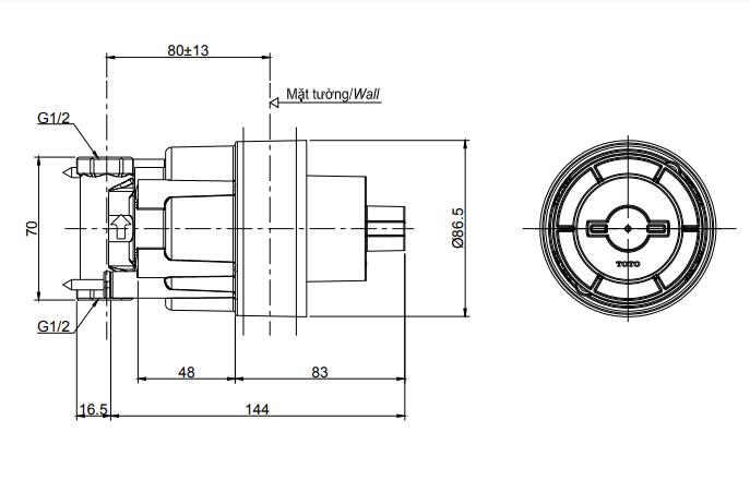 Bản vẽ kỹ thuật của phụ kiện âm tường TOTO TBN01103B