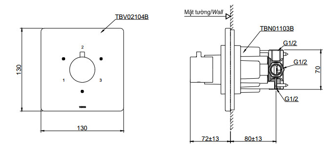 Bản vẽ kỹ thuật của van chuyển hướng TOTO TBV02104B