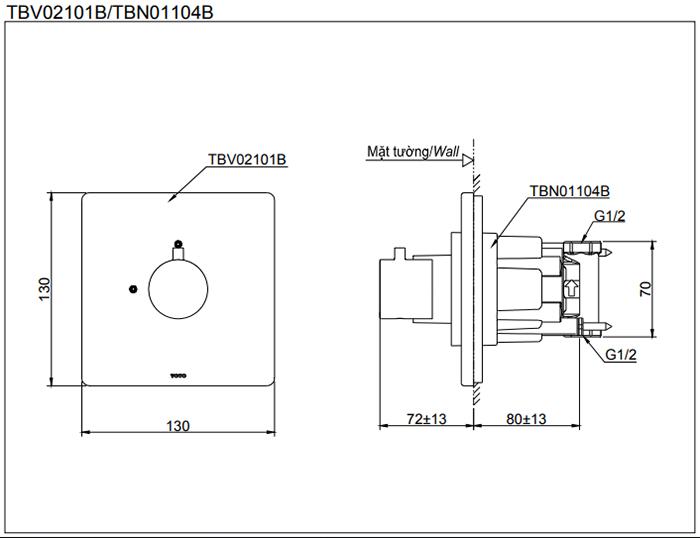 Bản vẽ kỹ thuật của sản phẩm van dừng TOTO TBV02101B