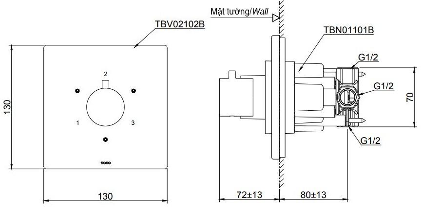 Bản vẽ kỹ thuật van chuyển hướng TOTO TBV02102B