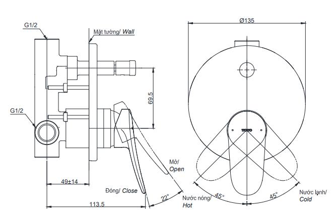 Bản vẽ kỹ thuật van gật gù điều chỉnh nóng lạnh TOTO TBS04304B
