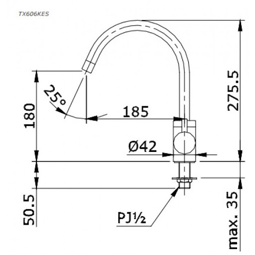 Bản vẽ kỹ thuật vòi bếp gật gù nước lạnh TOTO TX606KES