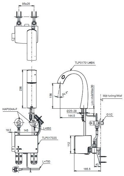 Bản vẽ kỹ thuật vòi cảm ứng nhiệt độ TOTO TLP01701J/TLP01702S