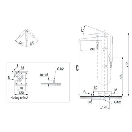 Bản vẽ kỹ thuật vòi xả bồn kèm sen tắm nóng lạnh TOTO DM324CF