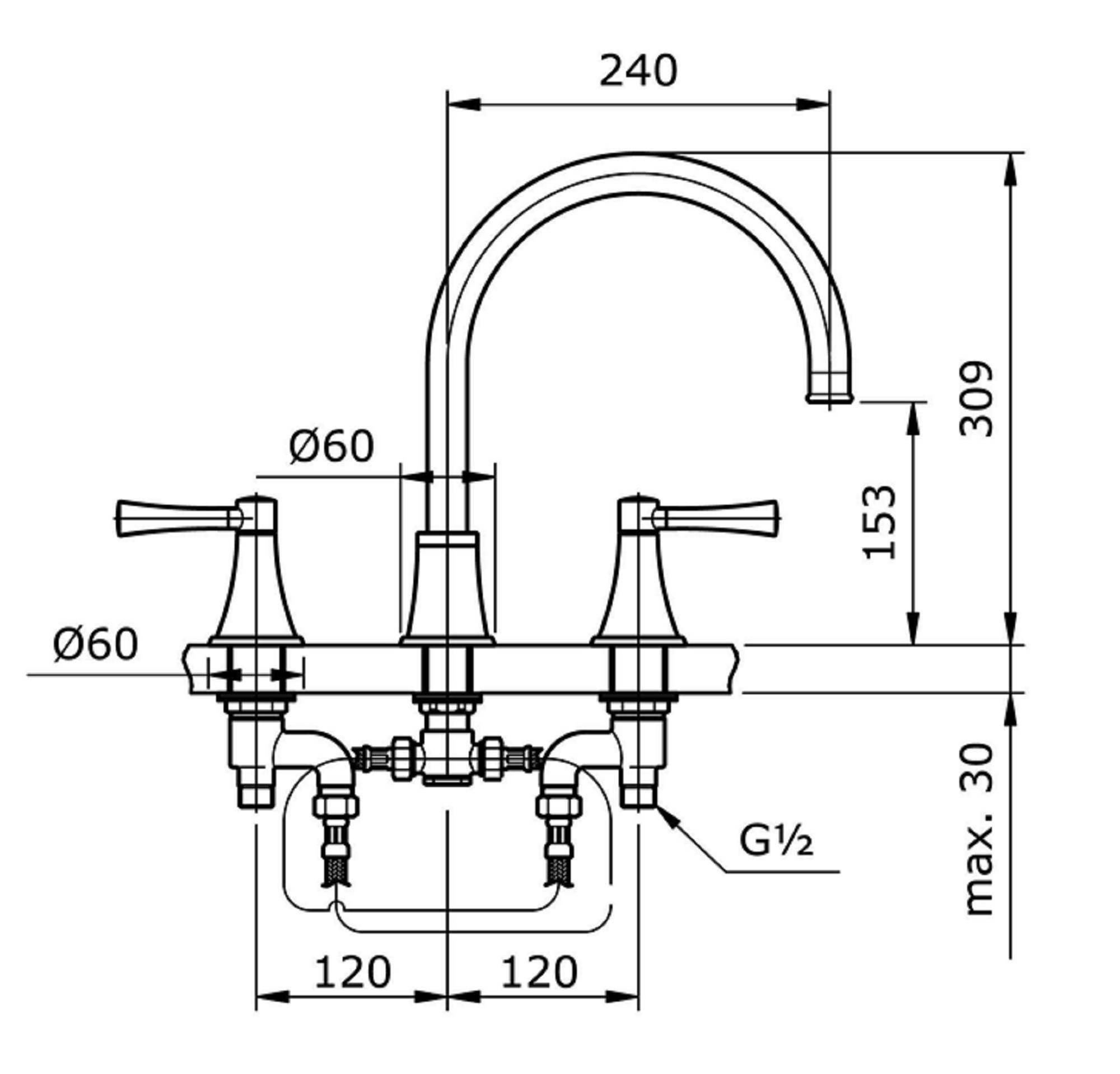 Bản vẽ kỹ thuật vòi xả bồn tắm nóng lạnh TOTO TX467SGV1