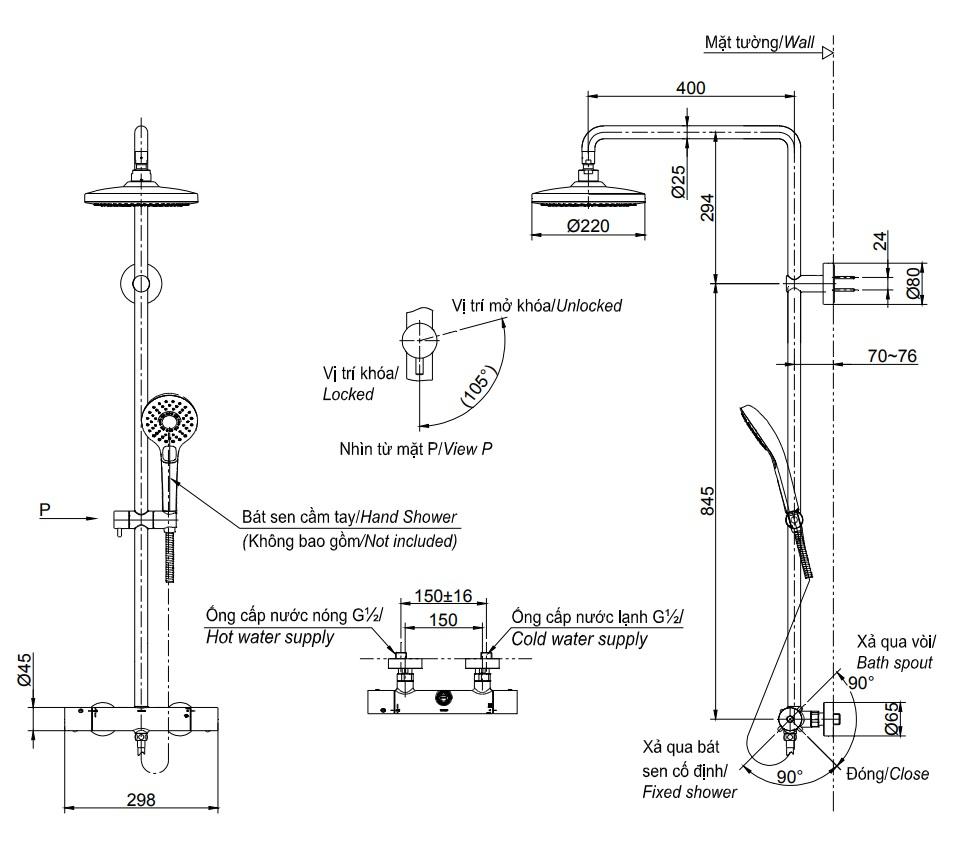 Bản vẽ kỹ thuật sen cây TOTO TBW01402B