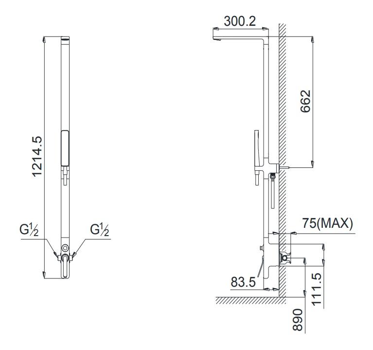 Bản vẽ kỹ thuật sen cây nóng lạnh TOTO DM912CAF