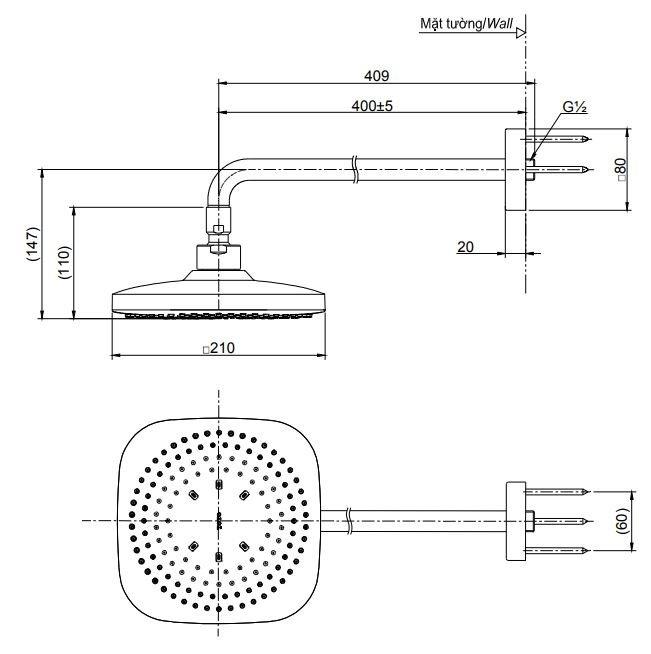 Bản vẽ kỹ thuật bát sen gắn tường TOTO TBW02003A