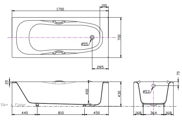 Bản vẽ kỹ thuật bồn tắm gang tráng men TOTO FBY1740PE