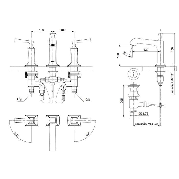 Bản vẽ kỹ thuật vòi chậu rửa mặt nóng lạnh TOTO DL224