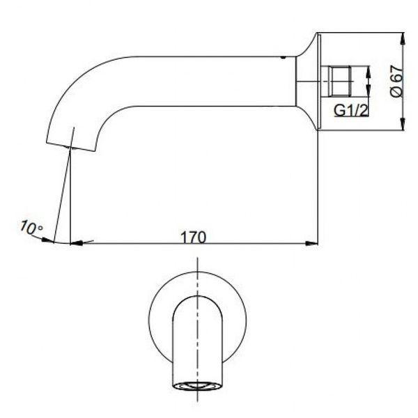 Bản vẽ kỹ thuật vòi xả bồn LN TOTO TBS02001B