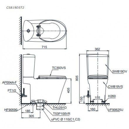 Bản vẽ kỹ thuật bồn cầu TOTO CS819DST2