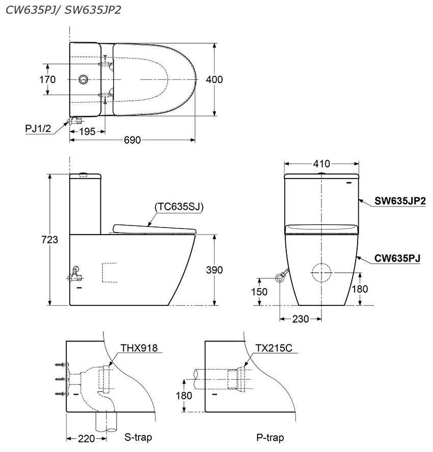 Bản vẽ kỹ thuật bồn cầu TOTO CW635PJ/SW635JP2