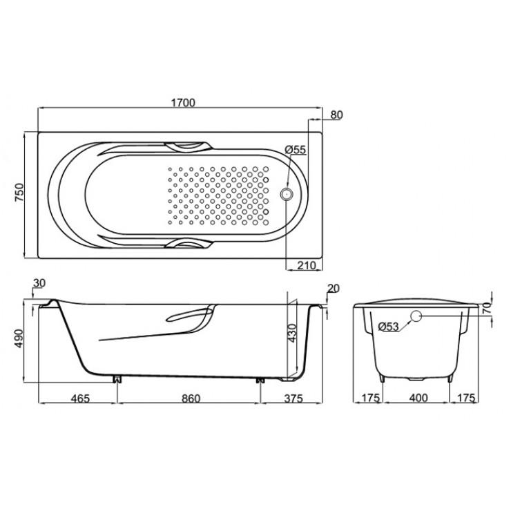 Bản vẽ kỹ thuật bồn tắm nhựa TOTO FBY1720NHPE