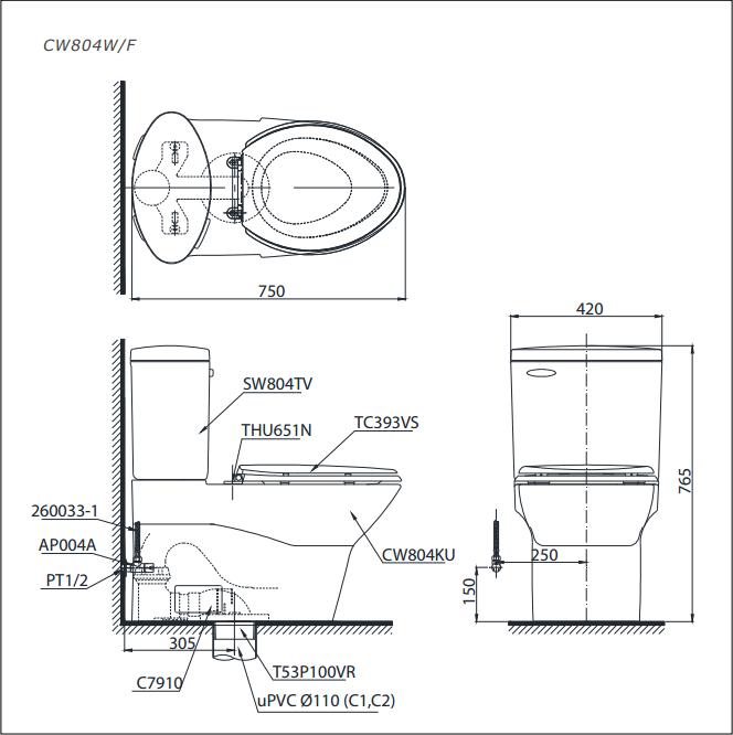 Bản vẽ kỹ thuật bồn cầu TOTO CW804W/F